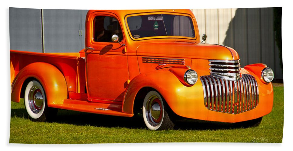 Neat Vintage Chevrolet Truck In Bright Orange Beach Towel for Sale ...