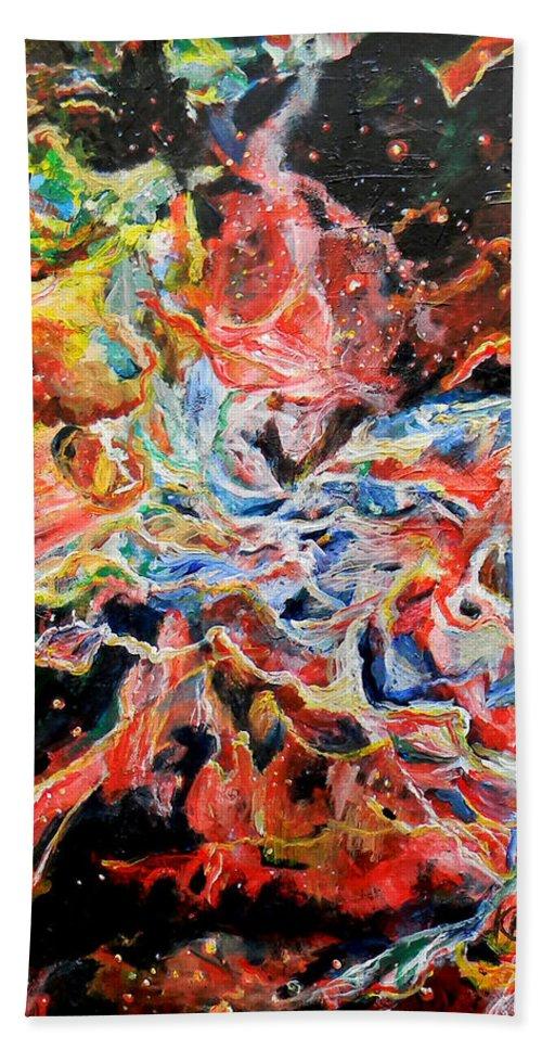 Nebula Beach Towel featuring the painting Nebula by Art by Kar