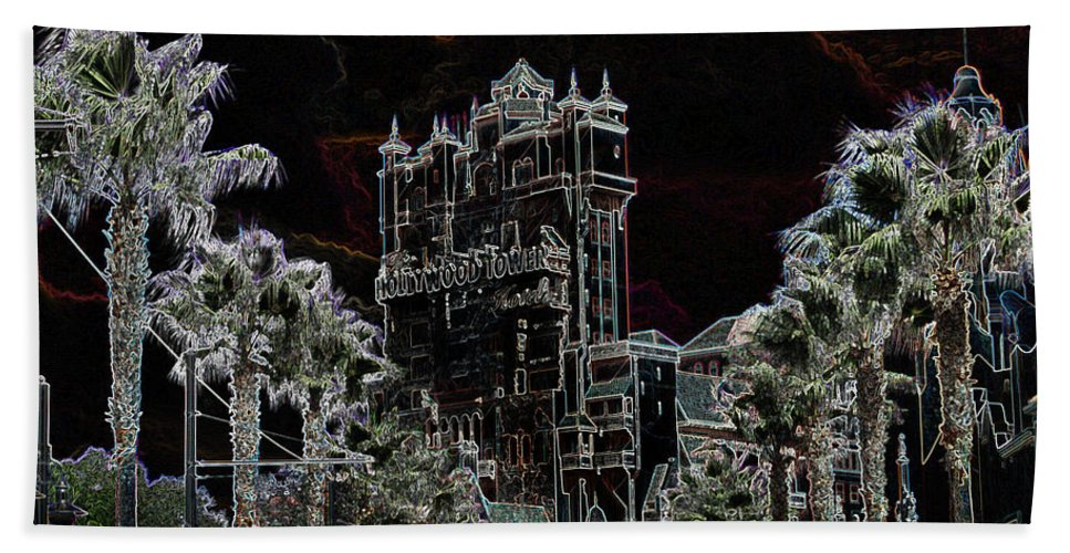 Toere Beach Towel featuring the mixed media Neon Tower by Eric Liller