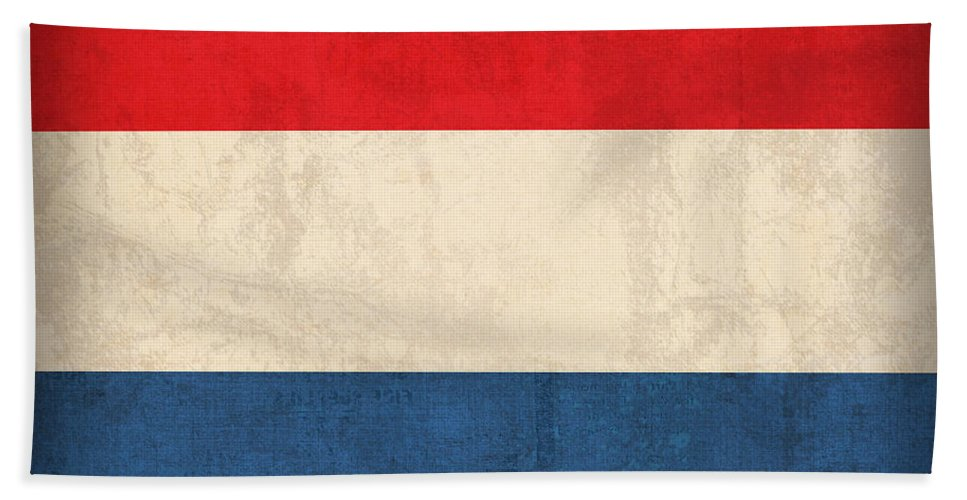 Netherlands Flag Vintage Distressed Finish Holland Europe Country Nation Dutch Beach Towel featuring the mixed media Netherlands Flag Vintage Distressed Finish by Design Turnpike
