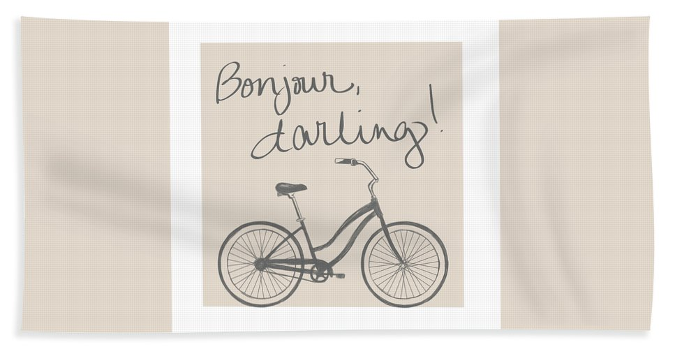 Neutral Beach Towel featuring the mixed media Neutral Glam Bike by South Social Studio