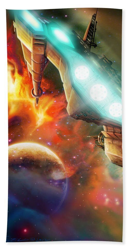 Starship Beach Towel featuring the painting Nevtar Stardrive by James Christopher Hill