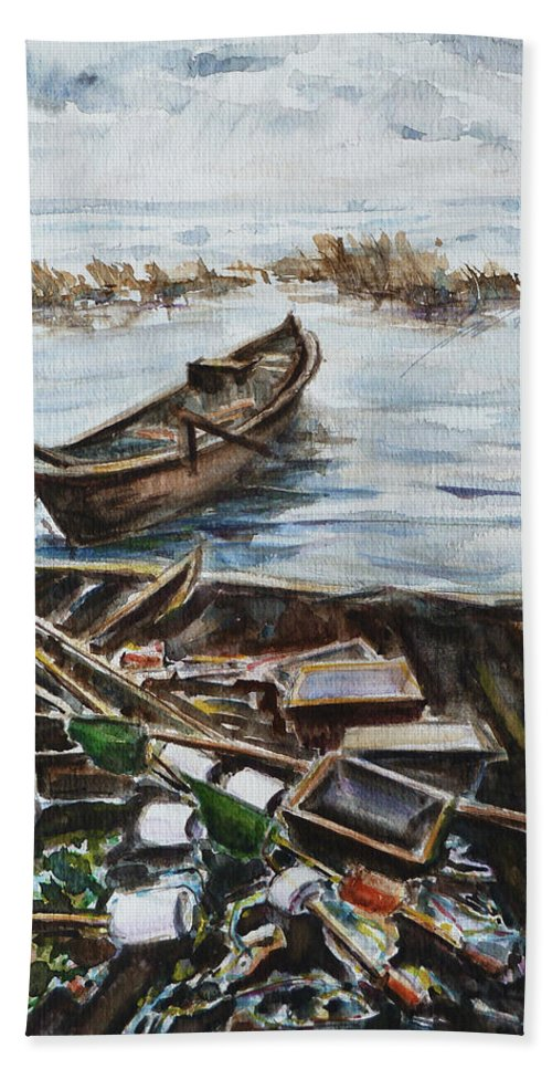 Boat Beach Towel featuring the painting New England Wharf by Xueling Zou
