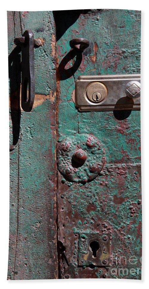 Door Beach Towel featuring the photograph New Lock On Old Door 3 by James Brunker