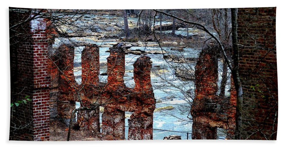Sweetwater Creek State Park Beach Towel featuring the photograph New Manchester Manufacturing Company Ruins by Tara Potts