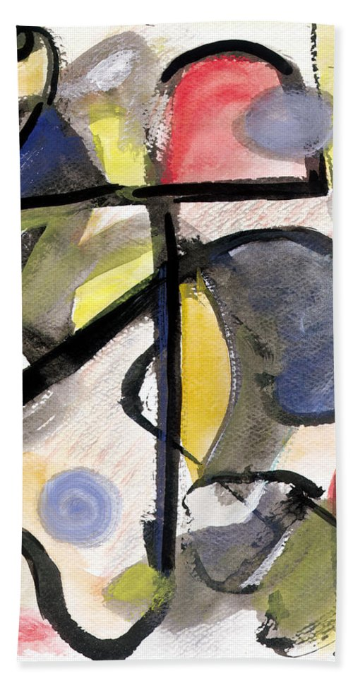 Abstract Art Beach Towel featuring the painting New Moon by Stephen Lucas