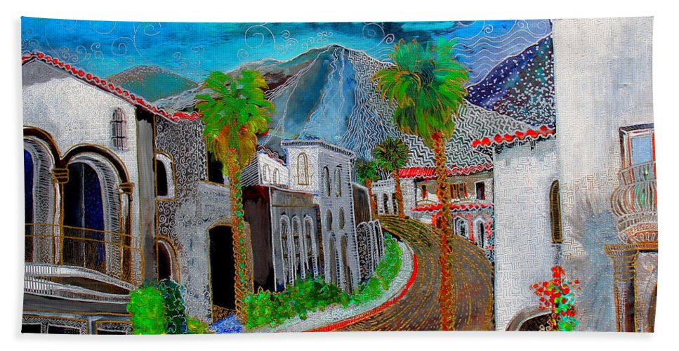 Beach Towel featuring the painting New Old Town La Quinta by Gideon Cohn