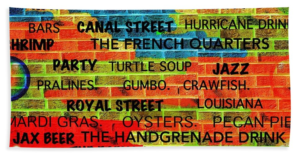New Orleans Beach Towel featuring the digital art New Orleans Street Art by Saundra Myles