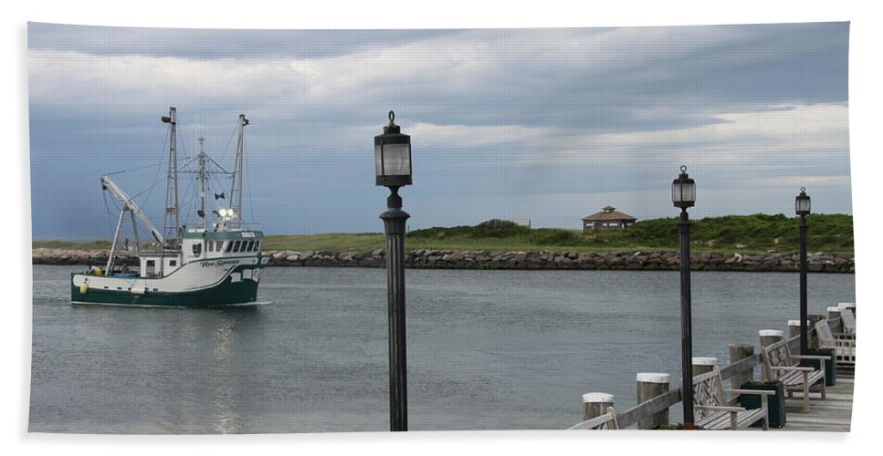 Fishing Boat Beach Towel featuring the photograph New Species Head Back by Christiane Schulze Art And Photography