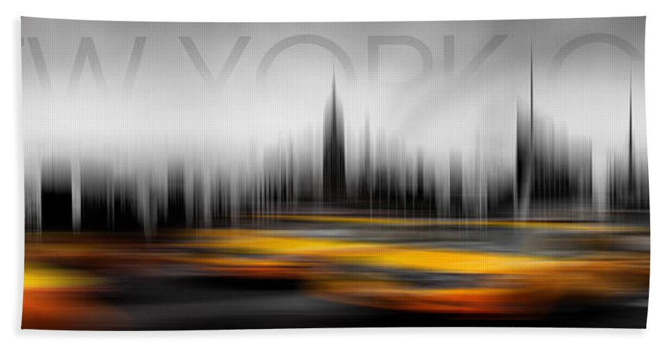 Architecture Beach Towel featuring the photograph New York City Cabs Abstract by Az Jackson