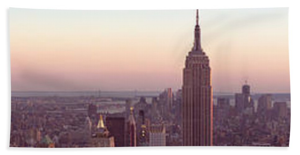 Nyc Beach Towel featuring the photograph New York City - Manhattan Panorama by Thomas Richter