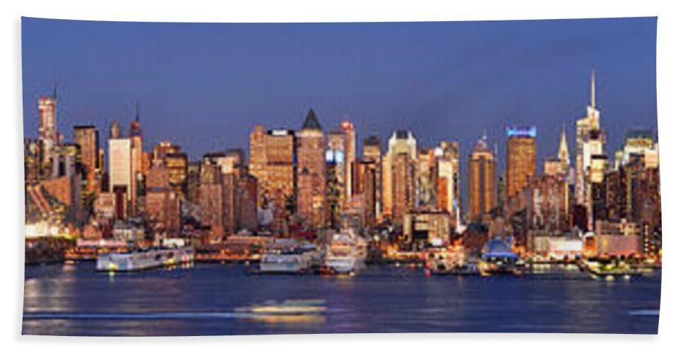 New York City Skyline At Dusk Beach Towel featuring the photograph New York City Midtown Manhattan At Dusk by Jon Holiday