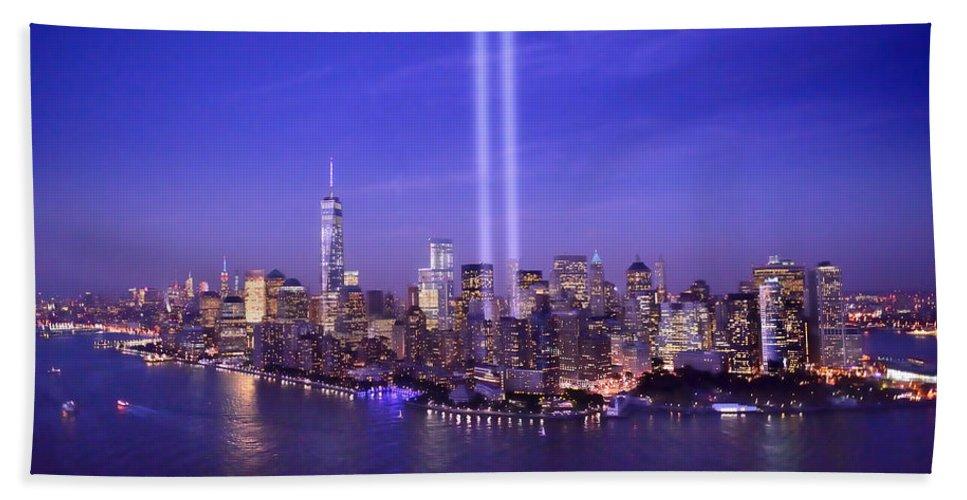New York City Skyline Night Beach Towel featuring the photograph New York City Tribute In Lights World Trade Center Wtc Manhattan Nyc by Jon Holiday