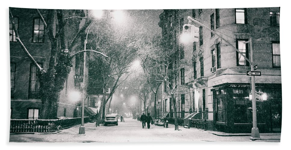 Nyc Beach Towel featuring the photograph New York City - Winter Night In The West Village by Vivienne Gucwa