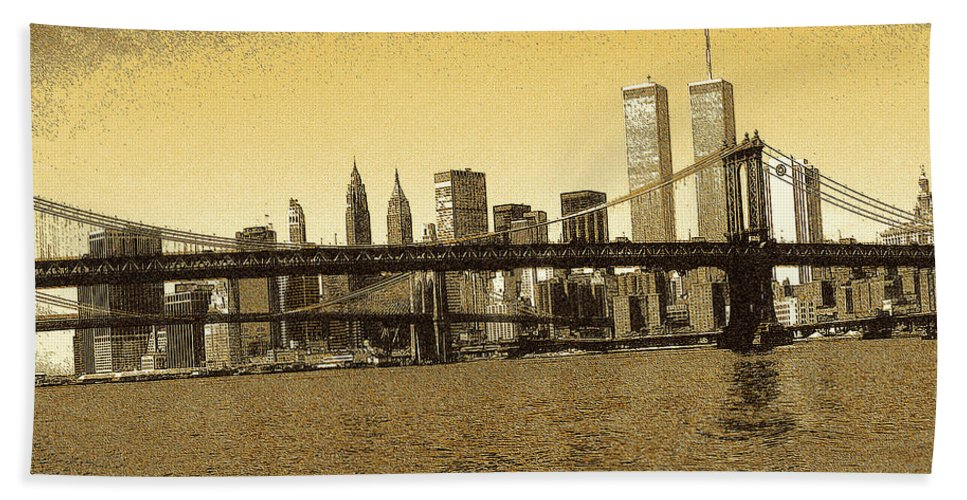 New+york Beach Towel featuring the drawing New York Downtown Manhattan Skyline - Yellow Panorama by Peter Potter