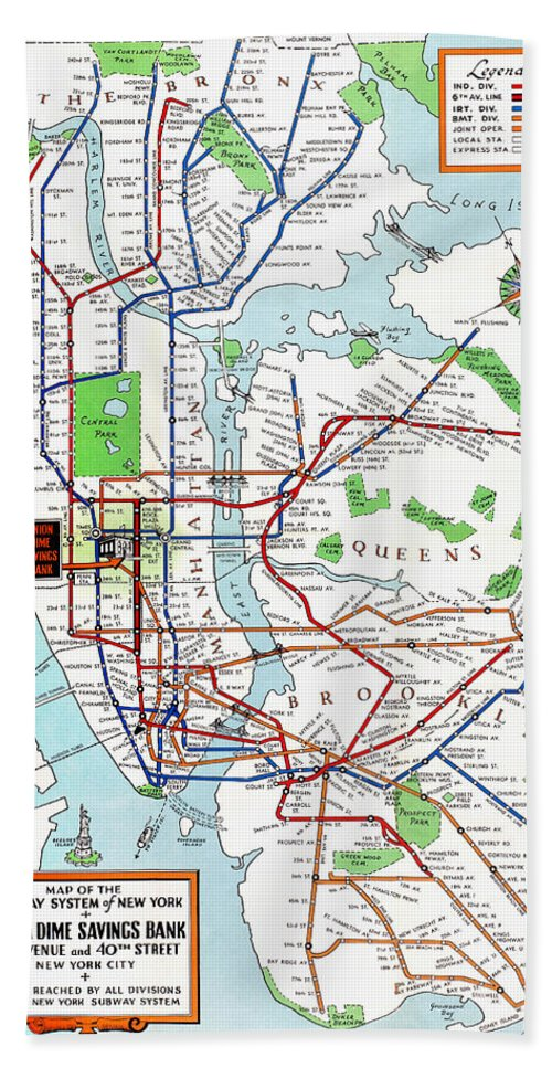 1940 Nyc Subway Map.New York Subway Map 1940 Beach Towel