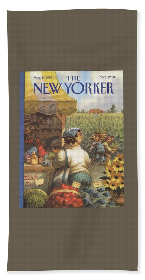 Bumper Crop Beach Sheet featuring the painting New Yorker August 14th, 1995 by Peter de Seve