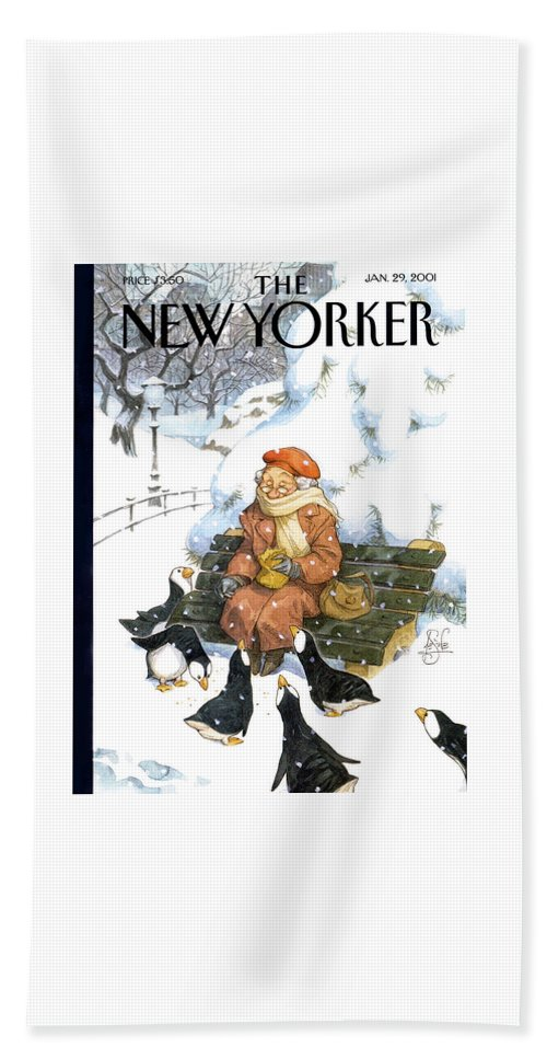 Snowbirds Park Bench Bird Puffins Puffin Penguins Penguin Old Lady Woman Central Feed Feeding Snow Winter Snowing Blizzard Peter De Seve Pde De Seve Peter De Seve Pde Pde Artkey 51196 Beach Sheet featuring the painting New Yorker January 29th, 2001 by Peter de Seve