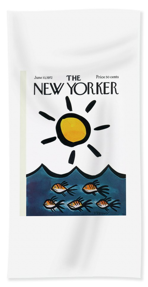Donald Reilly Beach Towel featuring the painting New Yorker June 10th, 1972 by Donald Reilly