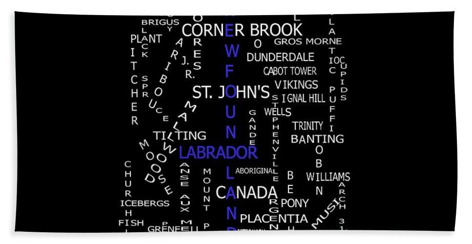 Newfoundland Labrador Canada Crosswords Beach Towel featuring the digital art Newfoundland Labrador Canada Crosswords by Barbara Griffin