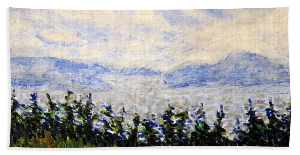 Newfoundland Beach Towel featuring the painting Newfoundland Up The West Coast by Ian MacDonald