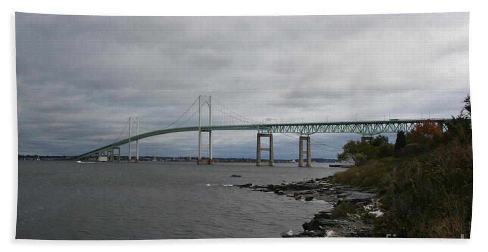 Bridge Beach Towel featuring the photograph Newport Bridge - Rhode Island by Christiane Schulze Art And Photography