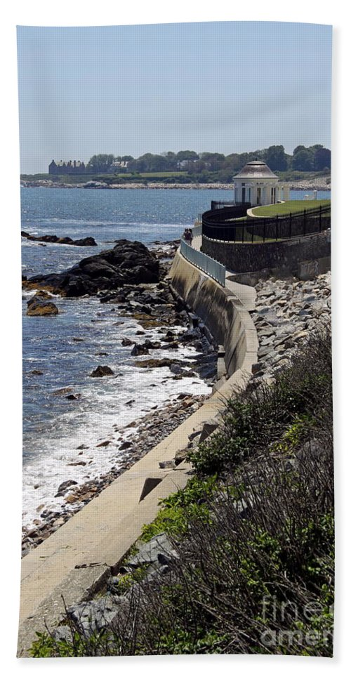 Cliff Walk Beach Towel featuring the photograph Newport's Cliff Walk View by Christiane Schulze Art And Photography
