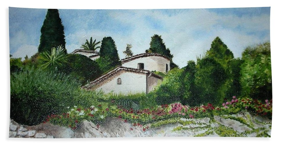 House Beach Towel featuring the painting Nice- France by Graciela Castro