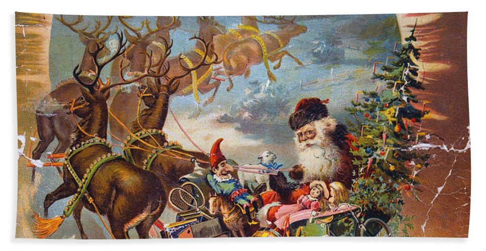 1896 Beach Towel featuring the photograph Night Before Christmas by Granger
