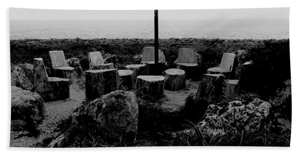 Black And White Beach Towel featuring the photograph Night Council by Amar Sheow