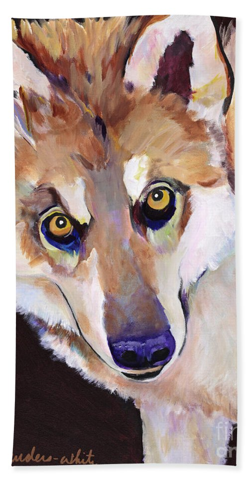 Pat Saunders-white Beach Towel featuring the painting Night Eyes by Pat Saunders-White