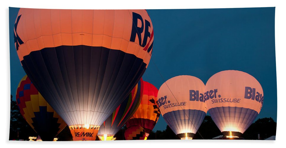 hot Air Balloon Beach Towel featuring the photograph Night Glow by Paul Mangold