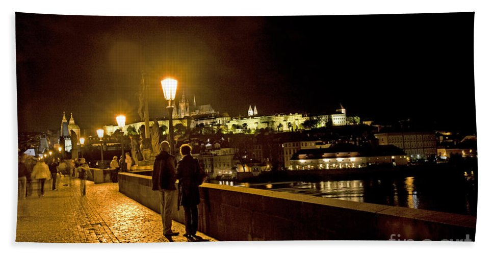 Prague Beach Towel featuring the photograph Night On The Charles Bridge by Madeline Ellis