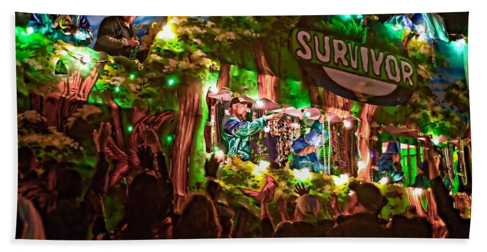 New Orleans Beach Towel featuring the photograph Night Parade by Steve Harrington