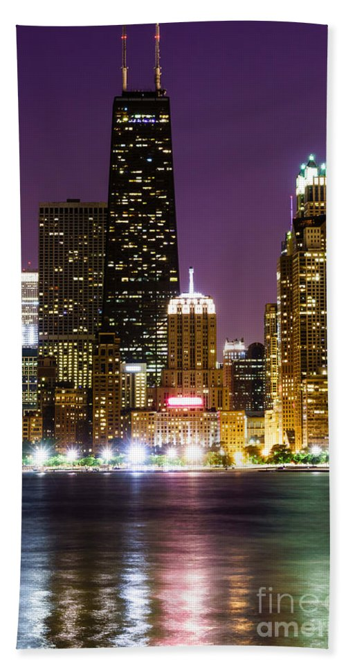 America Beach Towel featuring the photograph Night Skyline Of Chicago by Paul Velgos