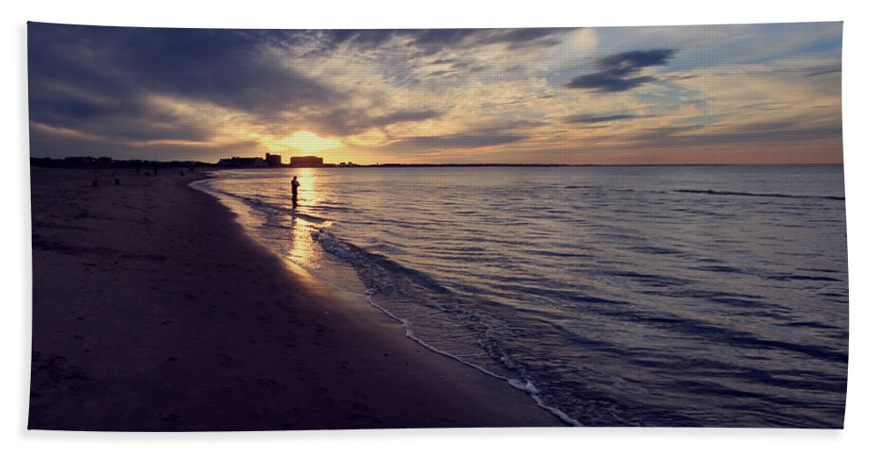 Activity Beach Towel featuring the photograph Nightfall Fisherman by Pete Federico
