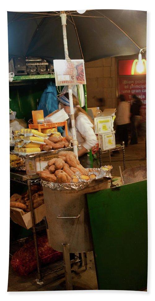 Madrid Beach Towel featuring the photograph Nighttime Vendor by Lorraine Devon Wilke