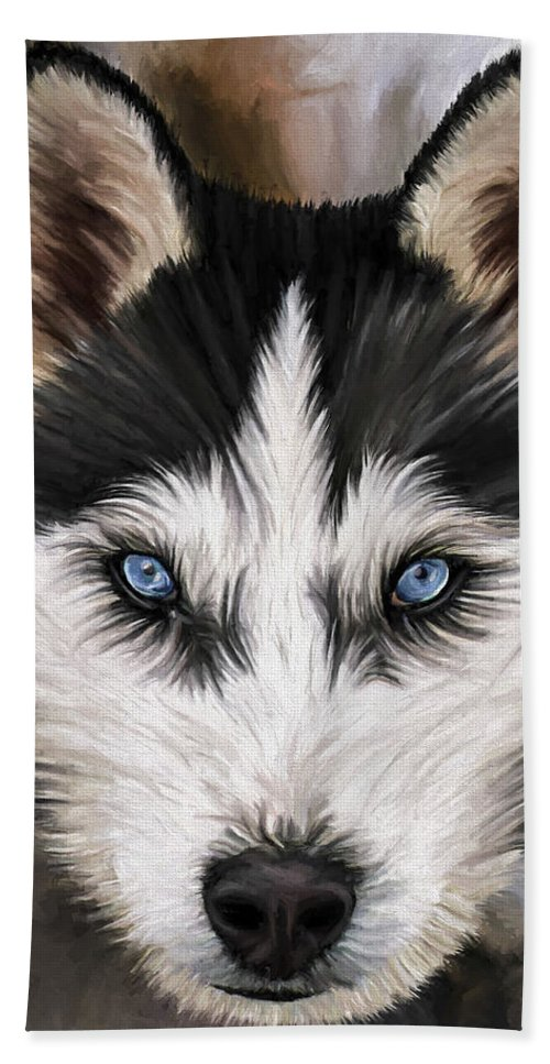 Dog Art Beach Sheet featuring the painting Nikki by David Wagner