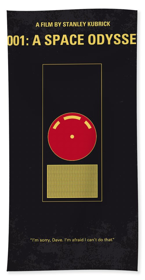 2001: A Space Odyssey Beach Towel featuring the digital art No003 My 2001 A space odyssey 2000 minimal movie poster by Chungkong Art