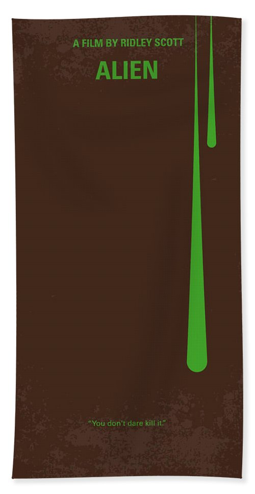 Alien Beach Towel featuring the digital art No004 My Alien Minimal Movie Poster by Chungkong Art