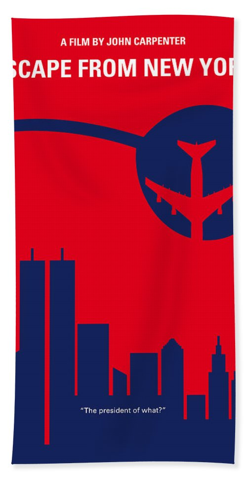 Escape Beach Towel featuring the digital art No219 My Escape From New York Minimal Movie Poster by Chungkong Art