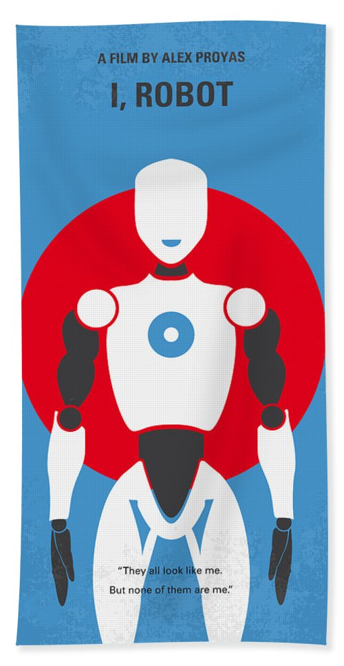 Robot Beach Towel featuring the digital art No275 My I Robot Minimal Movie Poster by Chungkong Art