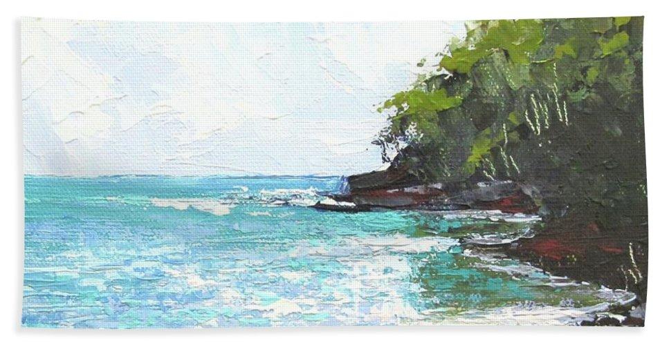 Seascape Beach Towel featuring the painting Noosa Heads Main Beach Queensland Australia by Chris Hobel