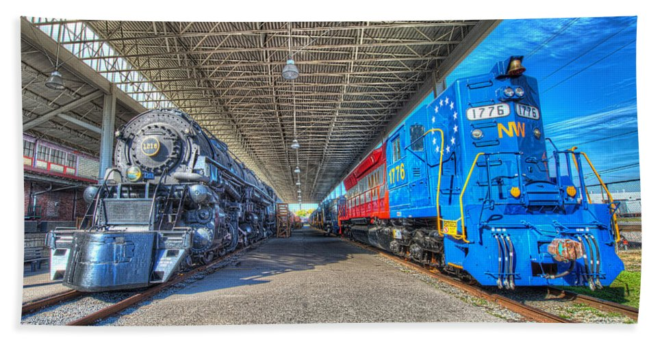 Historic Beach Towel featuring the photograph Norfolk And Western 1776 And 1218 by Greg Hager