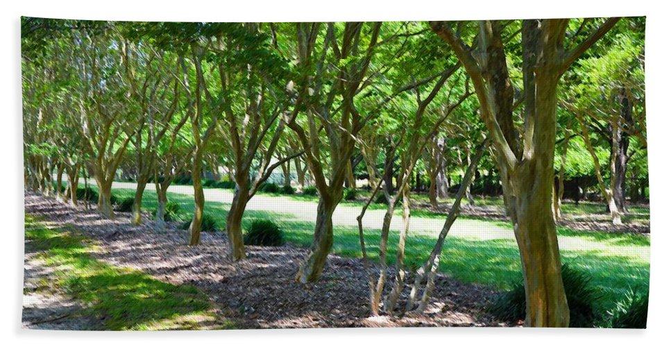 Favorite Spot In The Gardens Beach Towel featuring the painting Norfolk Botanical Garden 3 by Jeelan Clark