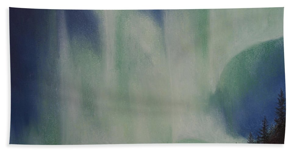 Aurora Borealis Beach Towel featuring the painting Northern Angel Bird by Stanza Widen