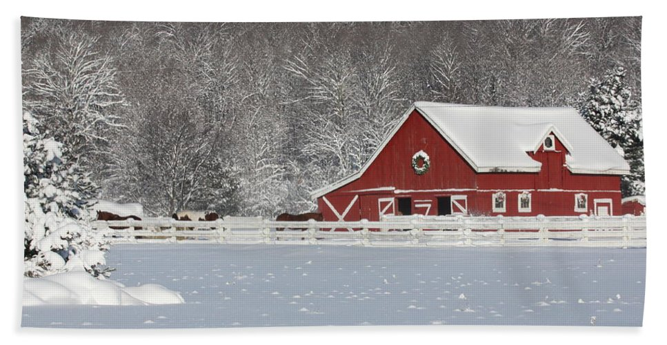 Barn Beach Towel featuring the photograph Northern Michigan Country Winter by Teresa McGill