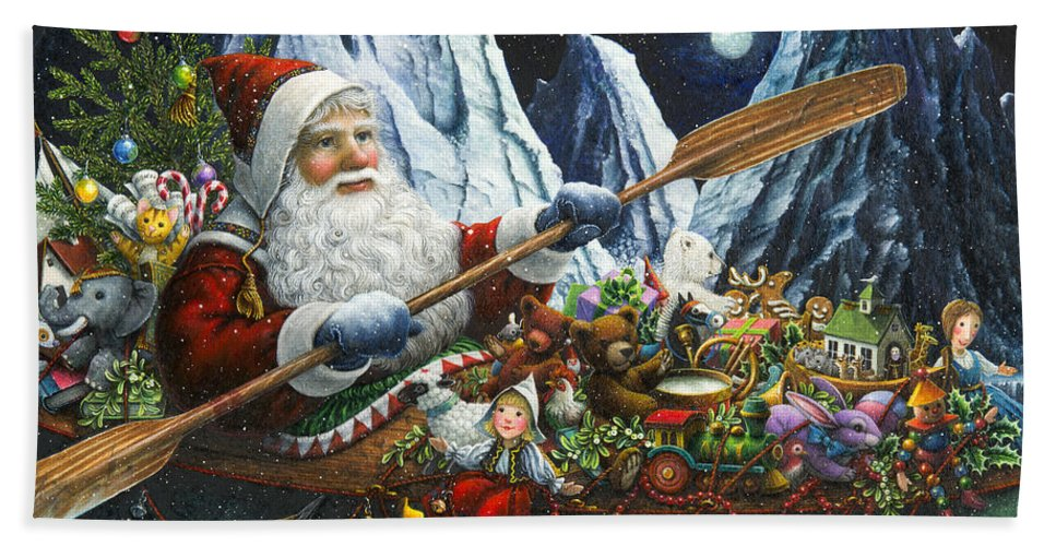 Santa Claus Beach Towel featuring the painting Northern Passage by Lynn Bywaters
