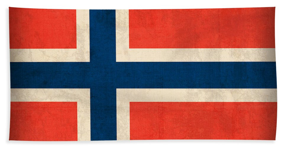 Norway Flag Distressed Vintage Finish Norwegian Oslo Scandinavian Europe Country Nation Beach Towel featuring the mixed media Norway Flag Distressed Vintage Finish by Design Turnpike