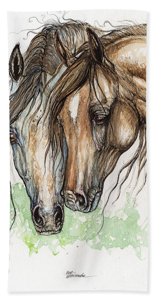 Horse Beach Towel featuring the painting Nose To Nose Watercolor Painting by Angel Ciesniarska